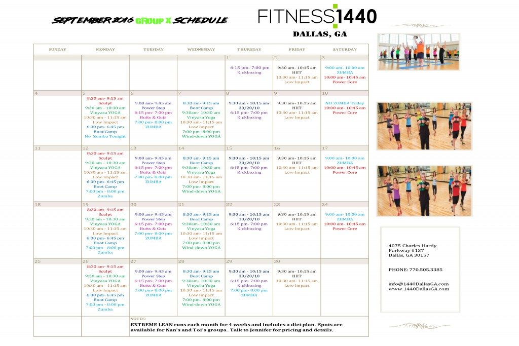 September Group Fitness Schedule Fitness 1440