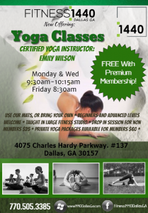 We now have Yoga classes at Fitness:1440 Dallas GA!