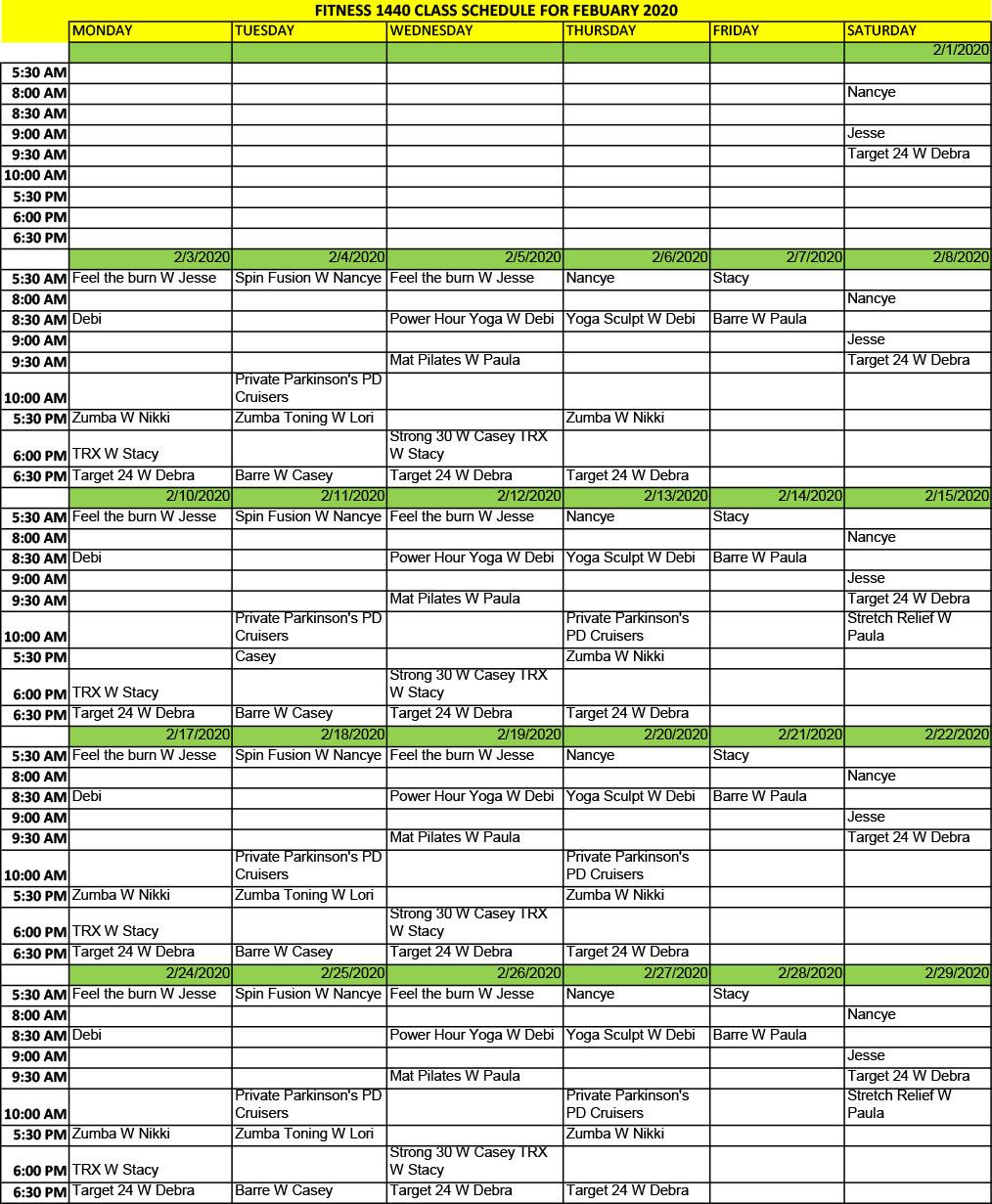 February 2020 Schedule