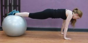 Stability Ball Plank Pushups