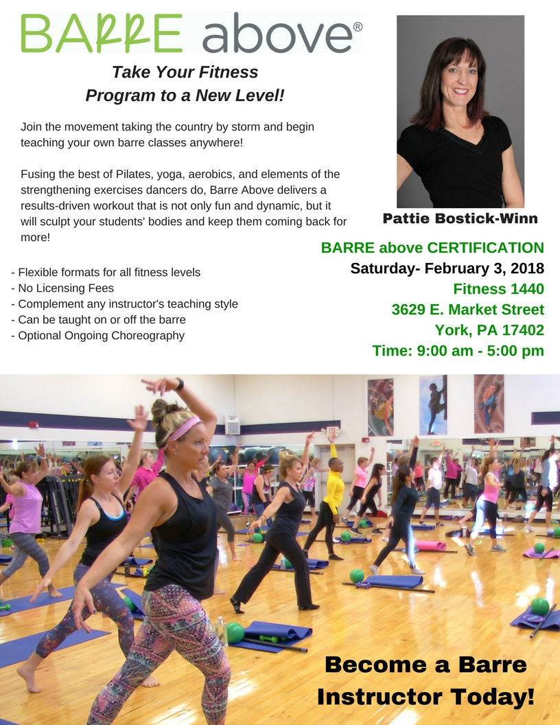 Become a barre above instructor fitness1440 are you interested in being a certified barre above instructor join us saturday feb 3rd 2018 from 9am 5pm at 3629 e market street york pa 17402 1betcityfo Choice Image